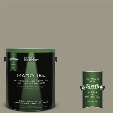 behr marquee 1 gal ppu8 20 dusty olive semi gloss enamel exterior paint 545401 the home depot