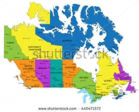 colorful canada map provinces capital cities stock vector