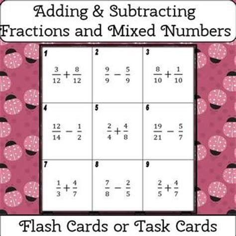 mixed number flashcards printable fractions and mixed numbers adding and subtracting flash