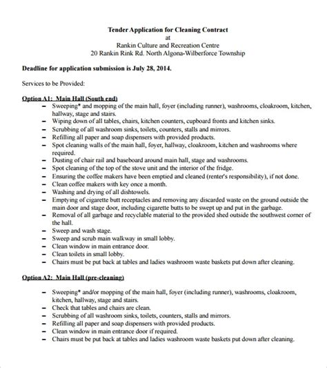 10 Cleaning Contract Templates To Download For Free Sle Templates Cleaning Contract Template