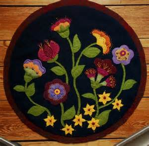 Rug Punch Patterns Jacobean Wool Applique Penny Rug Wall Hanging Table Topper