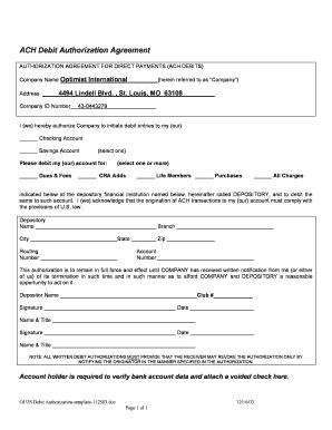 Ach Debit Authorization Agreement Fill Online Printable Fillable Blank Pdffiller Ach Authorization Form Template