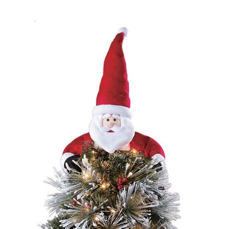 holiday time white red fabric santa tree hugger topper