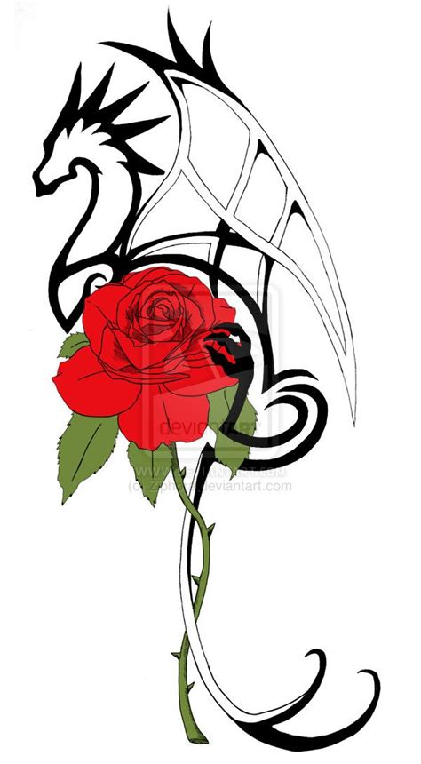 rose and dragon tattoos new by ziphora on deviantart