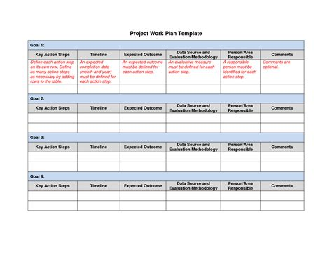 project work plan template best photos of professional work plan template