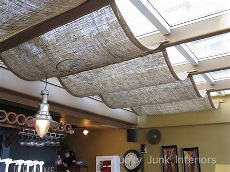 burlap window shades at a coffee shop