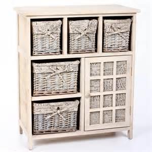 meuble en bois 5 tiroirs paniers en osier avec housses 1