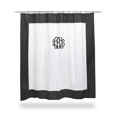 black and white monogrammed shower curtain monogrammed twill black and white shower curtain by