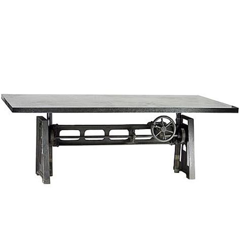 adjustable height crank dining table 36 quot zin home heavy steel industrial dining table with crank for