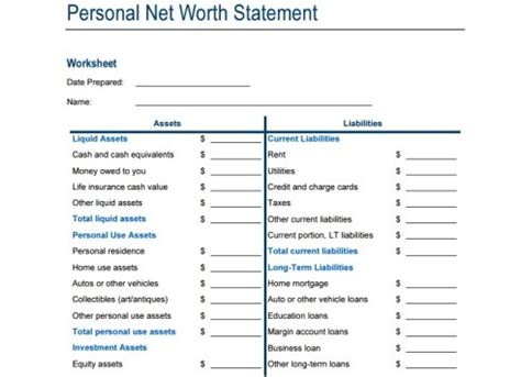 Excel Net Worth Template by 4 Net Worth Statement Templates Excel Xlts