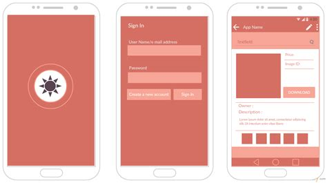 templates for apps android mockup templates for app prototypes creately