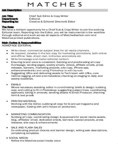 Editor Description by Copy Editor Description Sle 8 Exles In Word Pdf