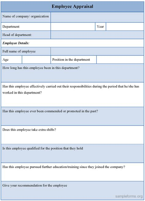 ideas collection doc employee performance evaluation template