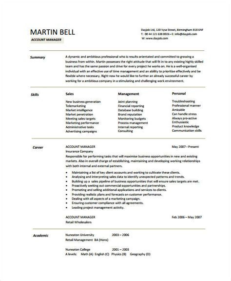 account executive resume sles 10 account manager resume templates pdf doc free