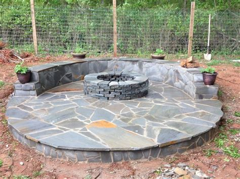 Flagstone Patio With Firepit Veneer Pit Patio
