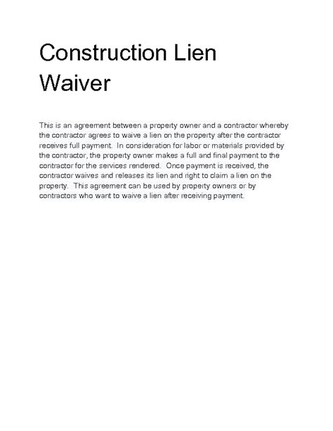 lien waiver form template waiver of lien template photos exle resume