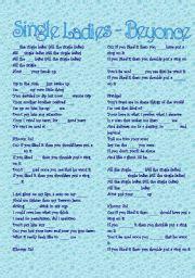 printable lyrics to all the single ladies english teaching worksheets beyonc 233