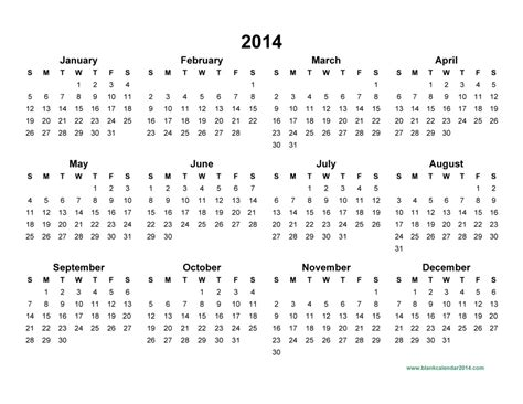 free printable calendar template 2014 2014 calendar pdf yearly calendar printable