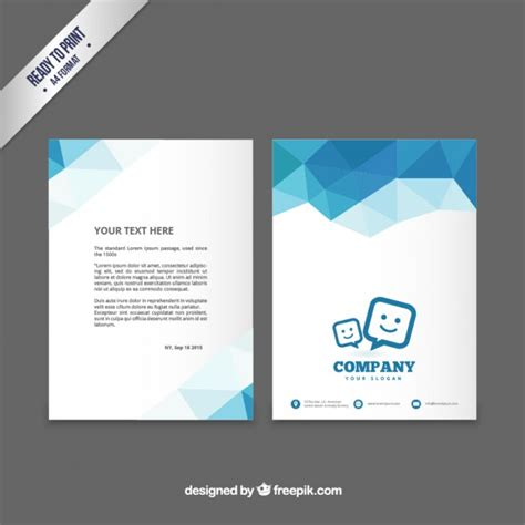photo flyer template brochure template with blue polygons vector premium