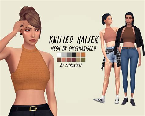 sims 4 female halter top my sims 4 blog knitted halter recolors by citrontart