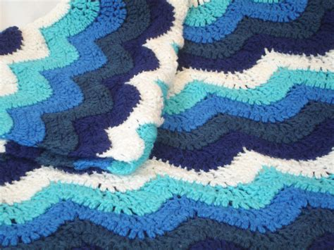 wave pattern in crochet small ocean waves crochet blanket in beautiful blues