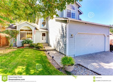american house exterior with landscape stock photo image