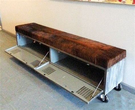 boat seat locker vintage steel locker storage bench w cowhide seat 1285