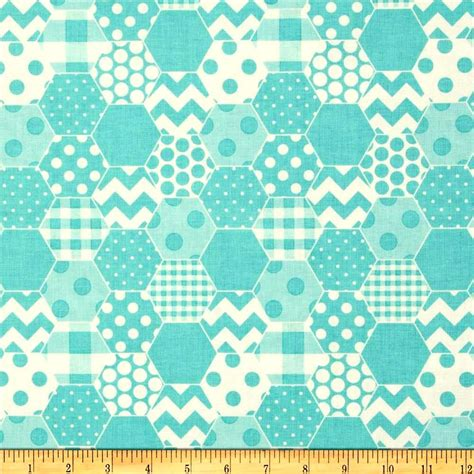 Quilt Fabric by Cotton Quilt Fabric Hexi Print Aqua White