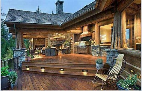 cozy log cabin porch home inspirtations pinterest log cabin decks cabin deck ideas for the house