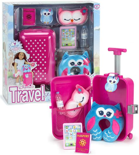 Travel Set For Doll american doll 7 travel suitcase accessory set