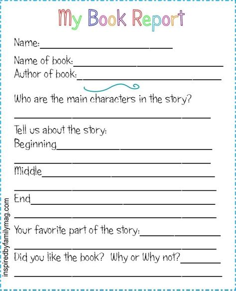 printable book report forms elementary classroom