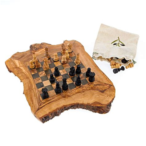 Handmade Wooden Board - olive wood chess set handmade rustic style small 12