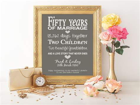 50th Wedding Anniversary Gift by 50th Anniversary Gift Personalised By Pinkmilkshakedesigns