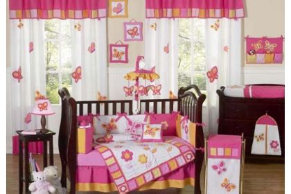 Pink And Brown Butterfly Crib Bedding Pink And Orange Butterfly Collection Baby Bedding 9pc