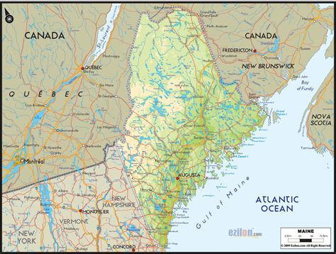 physical map of maine portaportal