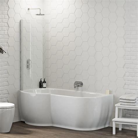 mode harrison left handed p shaped shower bath  shower