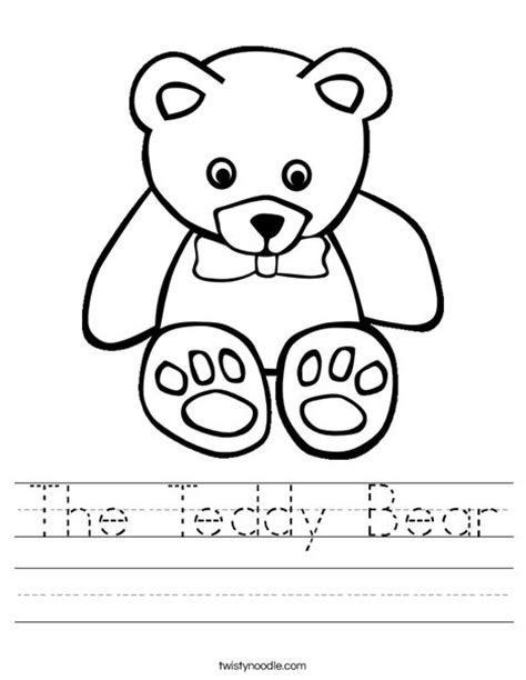 The Teddy Bear Worksheet Twisty Noodle Free Printable Teddy Coloring Pages