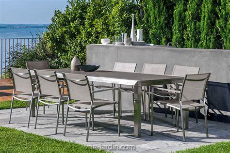 table de jardin design inox et verre tremp patch de talenti