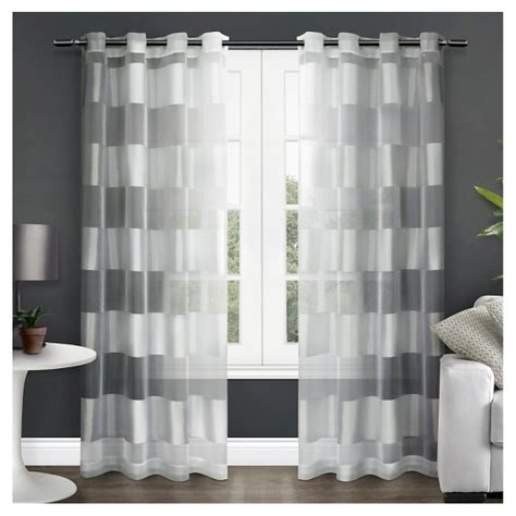 white grommet curtain panels set of 2 navaro striped sheer grommet top window curtain