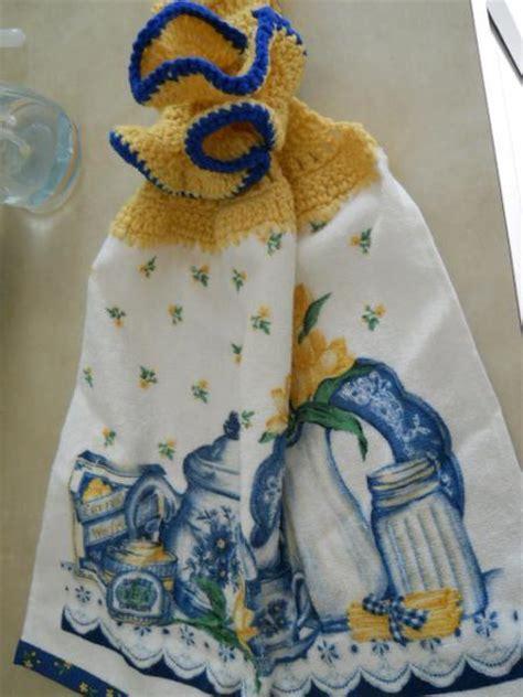 kitchen towel  crocheted topper  pgirsh