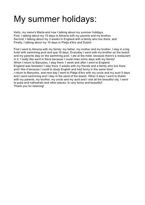Essay About Summer Holidays by Presentation My Summer Holidays