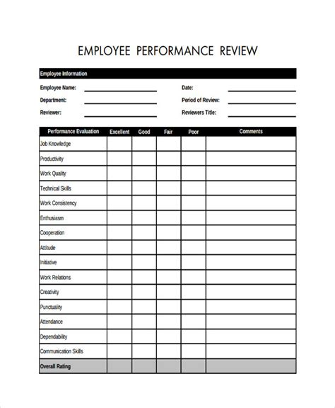 Free Employee Review Template Texas Vet Free Employee Review Template