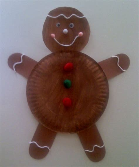 crafts for preschoolers paper plate gingerbread man
