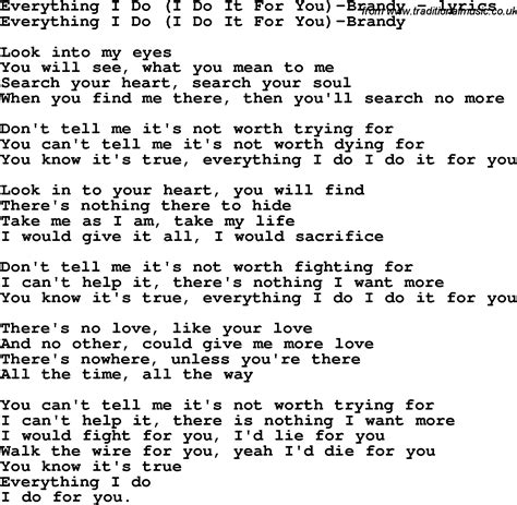 everything i do i do it for you testo song lyrics for everything i do i do it for you