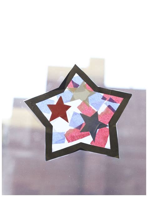 Tissue Paper Stained Glass Craft For - tissue paper stained glass fourth of july craft for