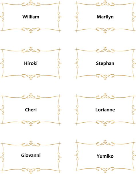 Place Card Template Word 10 Per Sheet by Place Card Template Template Free Speedy Template