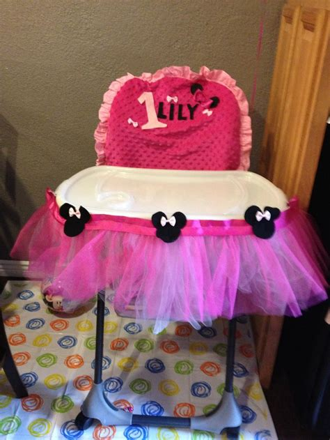 1st Birthday High Chair Cover by Minnie Mouse 1st Birthday High Chair Cover