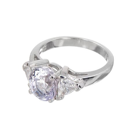purple sapphire three engagement ring for