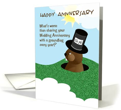Wedding Anniversary Humour by Wedding Anniversary On Groundhog Day Humor Kisses Card
