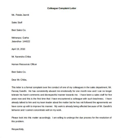 formal complaint letter template sle formal complaint letter about a coworker cover